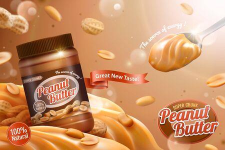 Ilustración de Peanut butter spread ads with spoonful of delicious in 3d illustration - Imagen libre de derechos