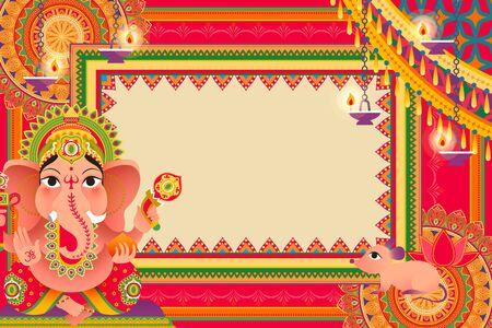 Illustration for Gorgeous Ganesh Chaturthi festival background design with Hindu god Ganesha - Royalty Free Image