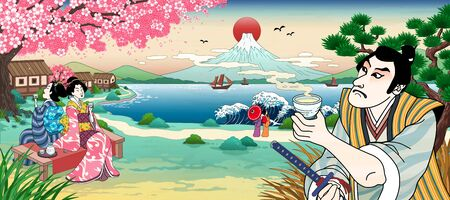 Illustration pour Ukiyo e style Japanese people drinking rice wine or tea and viewing beautiful fuji mountain - image libre de droit