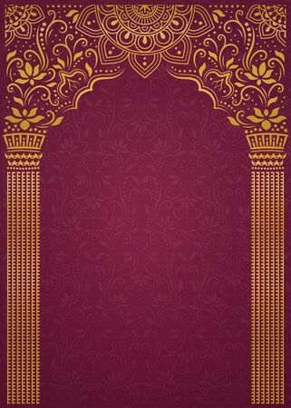 Illustration for Elegant golden arch and pillar on burgundy red background - Royalty Free Image