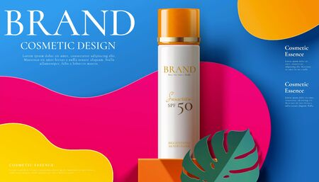 Illustration for Sunscreen spray product ads on modern paper art fuchsia and blue background in 3d illustration - Royalty Free Image