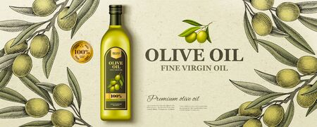 Illustration for Flat lay olive oil ads with woodcut style olive branch in 3d illustration - Royalty Free Image