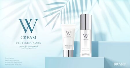 Illustration pour Skin care product set ads with white bottles on blue square podium stage and palm leaves shadows in 3d illustration - image libre de droit