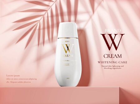 Ilustración de Skin care product ads with white bottle on pink square podium stage and palm leaves shadows in 3d illustration - Imagen libre de derechos