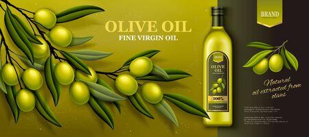 Ilustración de Olive oil banner ads with fresh olive branch in 3d illustration - Imagen libre de derechos