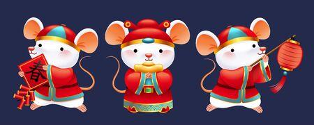 Illustration for Cute white mice wearing folk costume holding lantern, firecrackers and gold ingot - Royalty Free Image