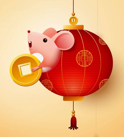 Illustration for Cute mouse holds golden coin and shows up from red lantern - Royalty Free Image