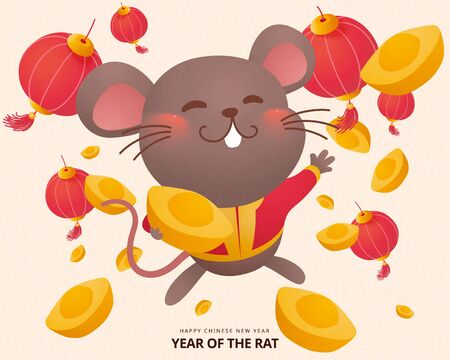 Illustration for Cute grey mouse splurging gold ingots for lunar year - Royalty Free Image