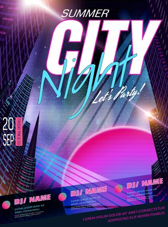 Illustration for Cyberpunk style music party poster design with night city background - Royalty Free Image