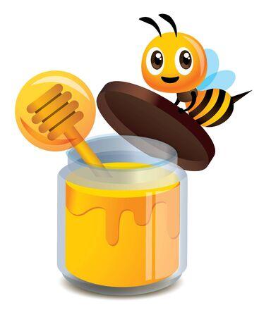 Illustration pour Cartoon cute bee open the clear glass bottle cap of honey  - Vector illustration isolated - image libre de droit
