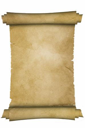Foto de Scroll of medieval parchment on white background. - Imagen libre de derechos