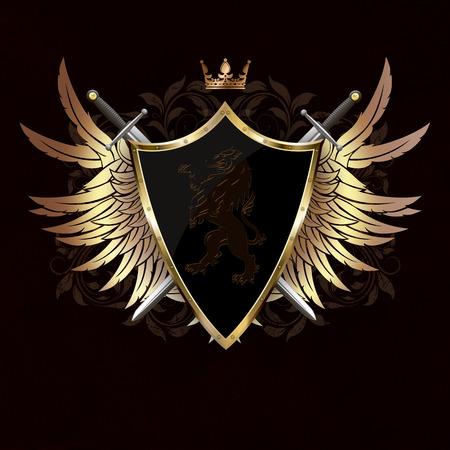 Foto de Medieval shield with heraldic lion, gold wings and two swords on dark grunge background with patterns. - Imagen libre de derechos