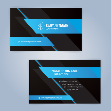 Illustration pour Blue and Black modern business card template, Illustration Vector 10 - image libre de droit