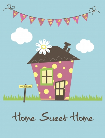 Illustration pour home sweet home card  illustration - image libre de droit
