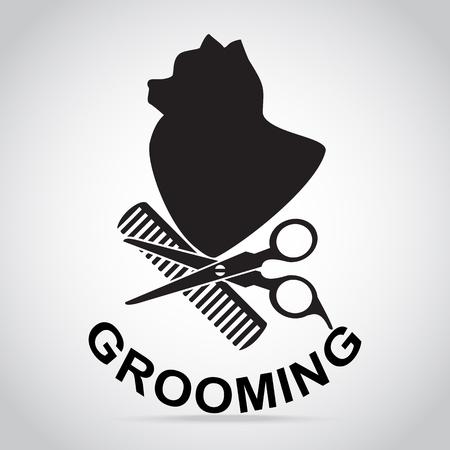 Illustration for Dog grooming salon icon. Pet beauty salon logo illustration - Royalty Free Image