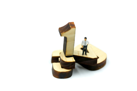 Photo for Miniature people : Businessman standing wooden number of 1,2,3 - Royalty Free Image