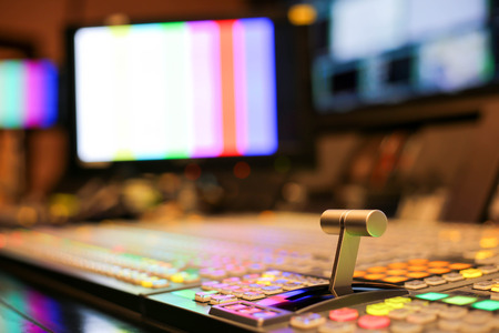 Photo pour Switcher buttons in studio TV station, Audio and Video Production Switcher of Television Broadcast. - image libre de droit