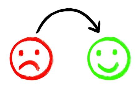 Foto de Painted Feedback faces showing negative and positive emotion - Imagen libre de derechos