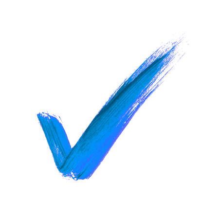 Photo for Hand-painted isolated blue brush tick icon - Royalty Free Image