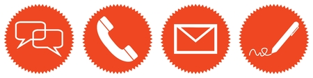 Foto per 4 red round Buttons with white communication icons: Forum, Chat, Hotline, Newsletter, E-Mail oder Writing - Immagine Royalty Free