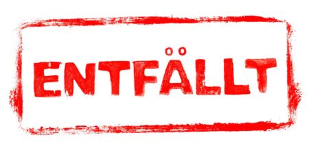 Photo pour Cancelled Banner: Red rubber stamp frame with stencil text in german language - image libre de droit