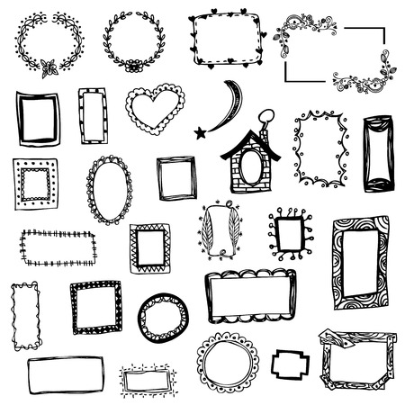 Illustration pour free hand drawing of picture frame vector illustration on white isolated - image libre de droit