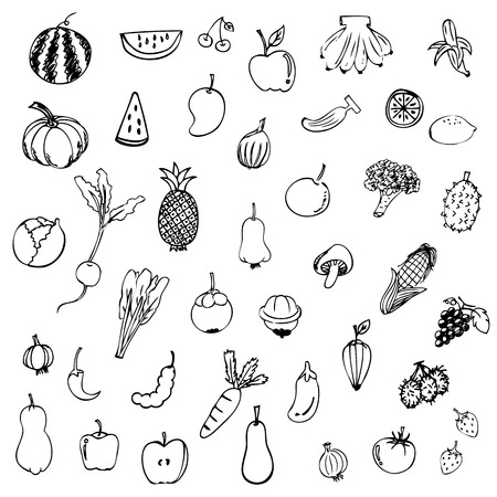 Photo for Fruits and vegetables sketch vector in black doodle on white background - Royalty Free Image