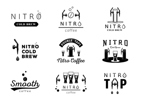 Ilustración de nitro cold brew coffee logo design black and white vector illustration - Imagen libre de derechos