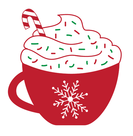 Illustration pour Christmas Concept, Peppermint Latte with red and green sprinkles and candy cane in red cup. - image libre de droit