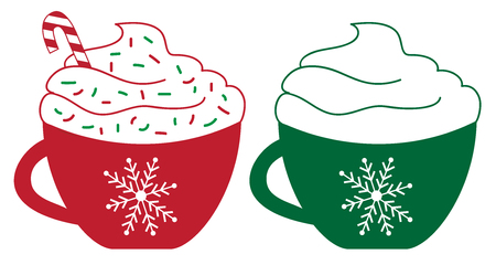 Illustration pour Christmas Element, Two Peppermint Coffees in red and green cup. - image libre de droit