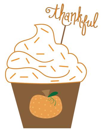 Illustration pour Thanksgiving Thankful Cupcake - image libre de droit