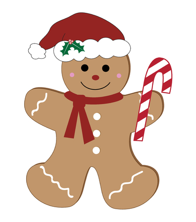 Illustrazione per Gingerbread man with candy cane illustration on white background. - Immagini Royalty Free