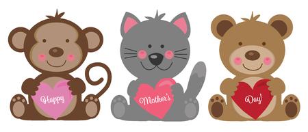 Illustrazione per Happy Mothers Day Animals - Immagini Royalty Free