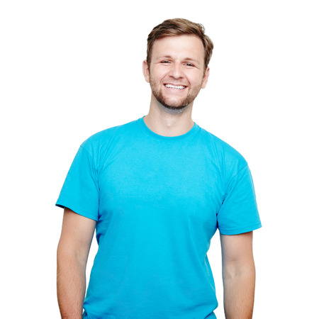 Photo for Portrait of a smiling man in blue t-shirt in a studio over a white background - Royalty Free Image