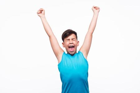 Photo pour Happy kid with hands up - image libre de droit