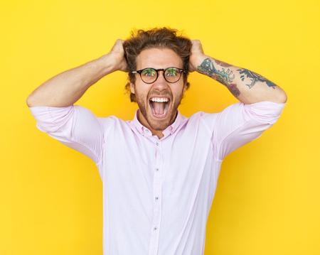 Foto de Angry man in glasses - Imagen libre de derechos