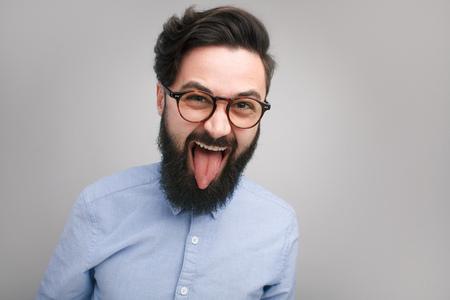 Foto de Crazy expressive hipster in glasses - Imagen libre de derechos