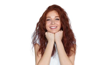 Foto de Cheerful red-haired lady looking at camera - Imagen libre de derechos