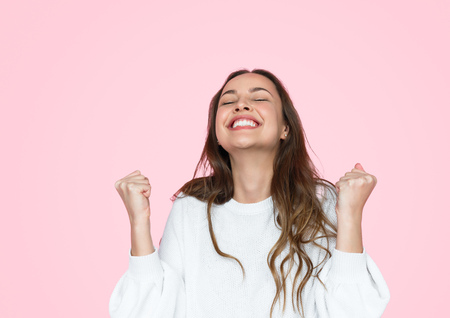 Photo for Excited woman celebrating success - Royalty Free Image