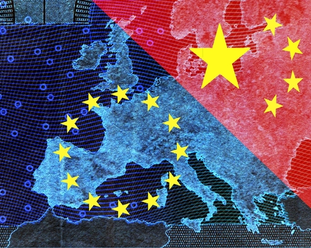 Foto de Europe and China The European and the Chinese flag divide the image diagonally. - Imagen libre de derechos