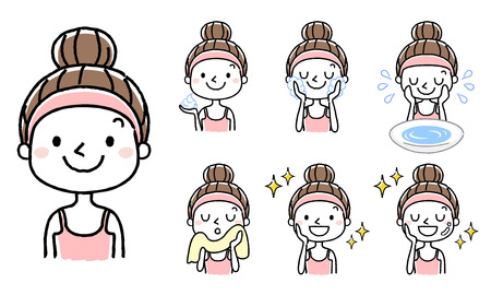 Illustration pour Face wash: set, variation - image libre de droit