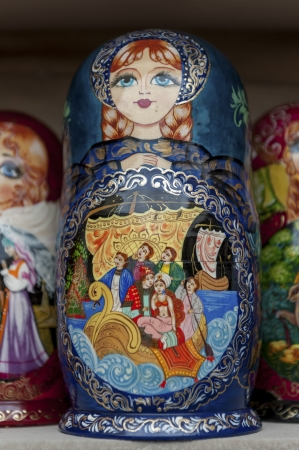 Close-up of Russian nesting dolls at a market stall, St. Petersburg, Russia