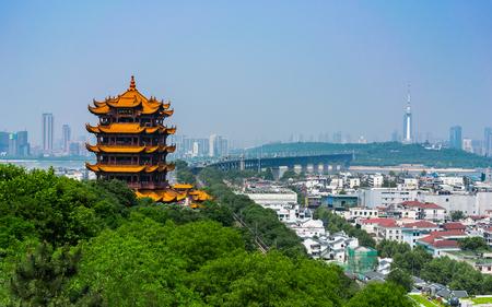 Photo pour Yellow crane tower and Wuhan Yangtze Great Bridge scenic view in Wuhan Hubei China - image libre de droit