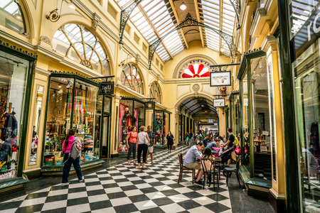 Photo for 3rd January 2019, Melbourne Australia : Interior view of Royal Arcade with people in Melbourne Australia - Royalty Free Image