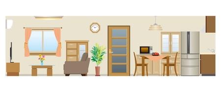 Illustration pour Living room   Dining room   Kitchen - image libre de droit
