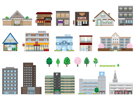 Illustration pour Various buildings - image libre de droit
