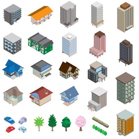 Illustration pour Various building / Solid figure - image libre de droit