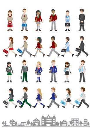 Illustration pour Illustrations of various people / Students - image libre de droit