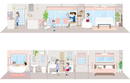 Illustration pour Living space  Family - image libre de droit