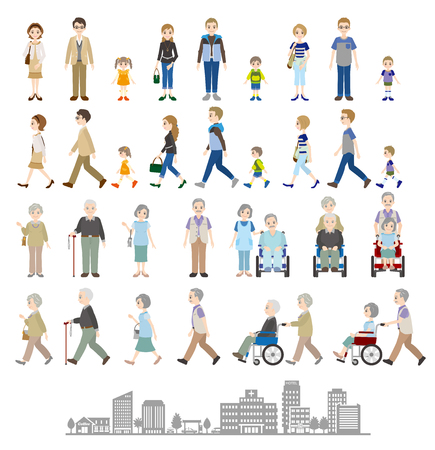 Foto de Illustrations of various people  Family - Imagen libre de derechos